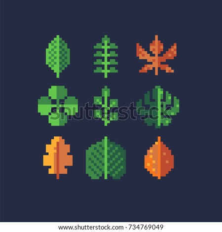 pixel leaves set, vector illustration isolated on dark background