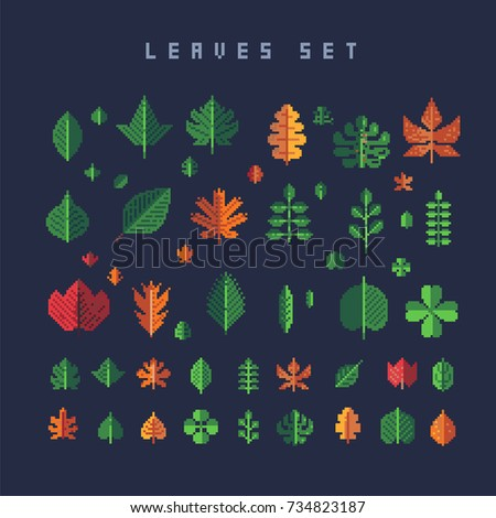 pixel leaves set, vector illustration isolated on dark background