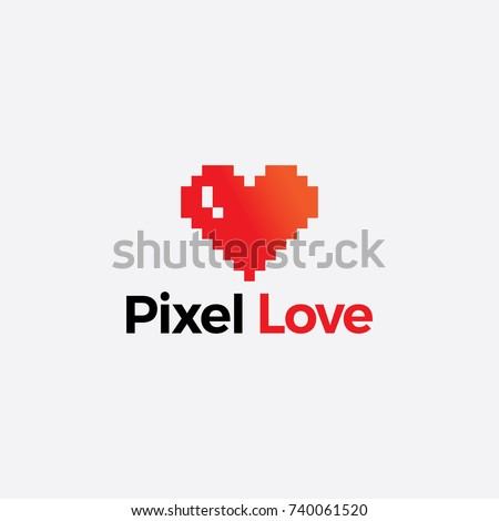 pixel love illustration. pixel logo vector design. heart icon logo design.