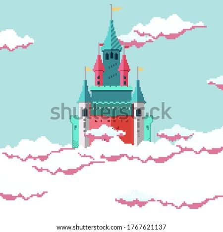 pixel magical fairytale castle