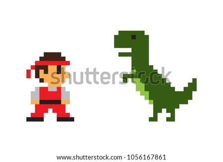 pixel man and big rex dinosaur