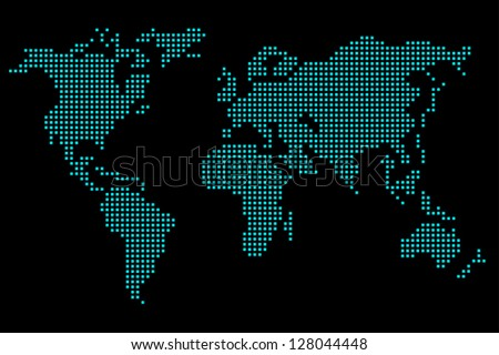 vector green 3d global world map
