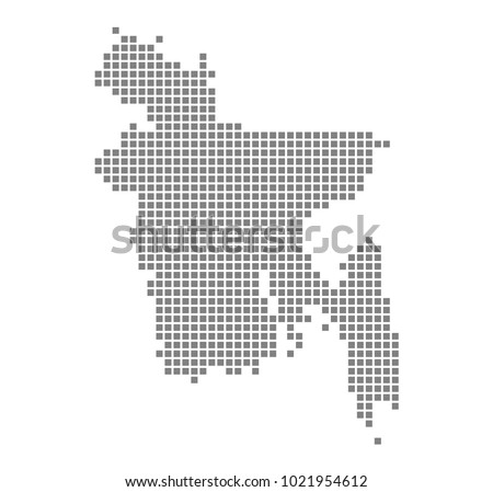 Pixel map of Bangladesh. Vector dotted map of Bangladesh isolated on white background. Abstract computer graphic of Bangladesh map. vector illustration.
