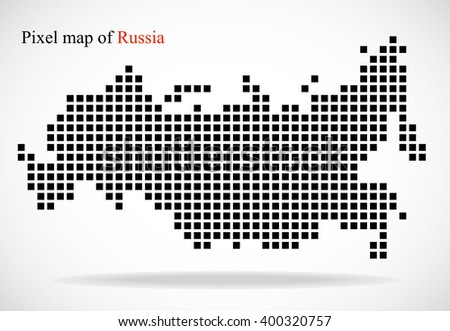 pixel map of russia  vector