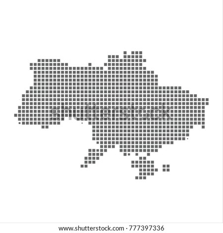 Pixel map of Ukraine. Vector dotted map of Ukraine isolated on white background. Ukraine map page symbol for your web site design map logo, app, ui, Travel vector eps10