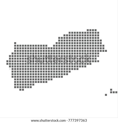 Pixel map of Yemen. Vector dotted map of Yemen isolated on white background. Yemen map page symbol for your web site design map logo, app, ui, Travel vector eps10