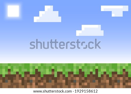 Pixel minecraft style land background. Concept of game ground pixelated horizontal background with blue sky, sun, cloud. Vector illustration