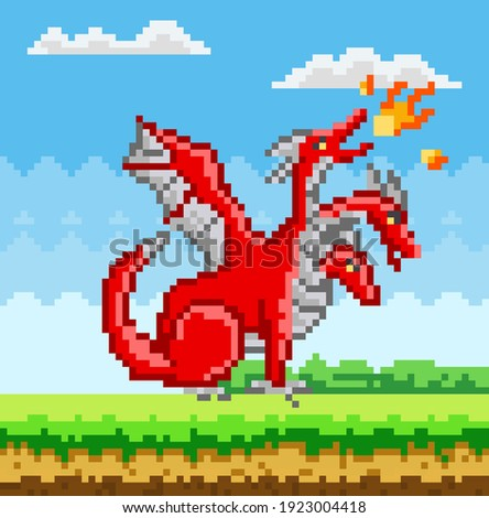 pixel monster character red