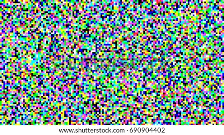 Pixel Noise TV Vector. VHS Glitch Pixel Texture TV Screen. Static Video Noise. Color Pattern Background. No Signal Illustration