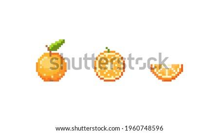 Pixel orange illustration set. Vector pixel orange, half orange and slice of orange. 8 bit retro game style fruit icon collection. Pixel fruit isolated icon on white background.