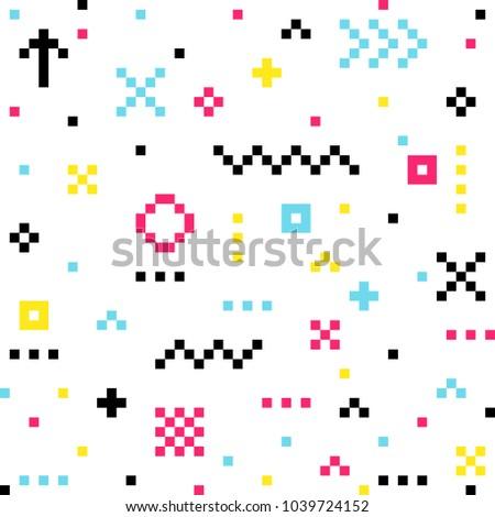 Pixel pattern color. Vector abstrack geometric design.