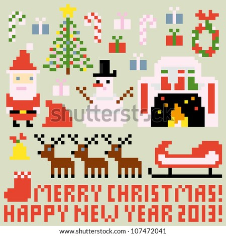 Pixel People Holidays - stock vector