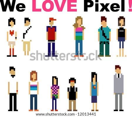 pixel peoples - stock vector
