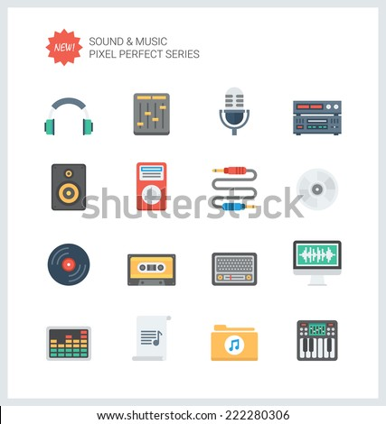 pixel perfect flat icons set of