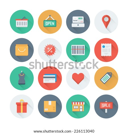 Pixel perfect flat icons set with long shadow effect of shopping symbol shop elements and commerce items market objects and store products Flat design style modern pictogram collection
