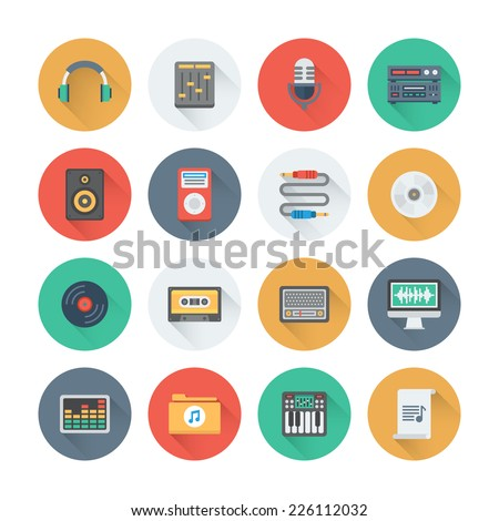 pixel perfect flat icons set