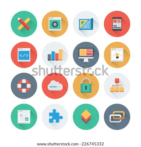 Pixel perfect flat icons set with long shadow effect of web development and website programming process, webpage coding and user interface creating. Flat design style modern pictogram collection.