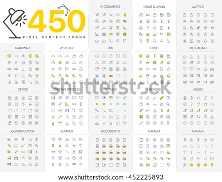 Pixel Perfect Icon Pack for designers and developers. Icons for business, office company information and services, for websites and apps. - Shutterstock ID 452225893