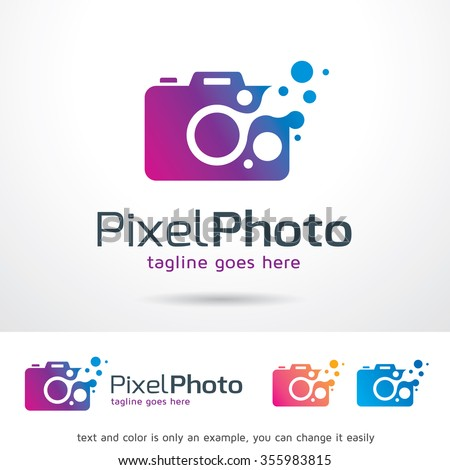 Pixel Photo Logo Template Design Vector