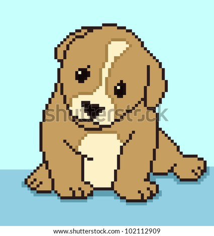 Pixel puppy - vector illustration