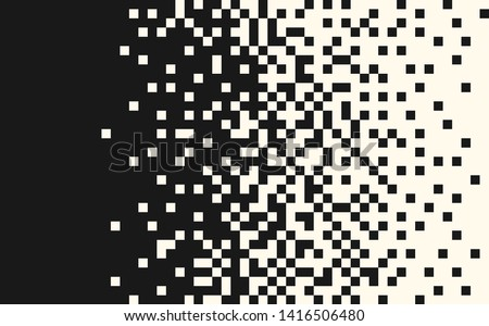 Pixel random horizontal mosaic, repeat, seamless pattern. Indent, space for text. Vector design element on isolated background.