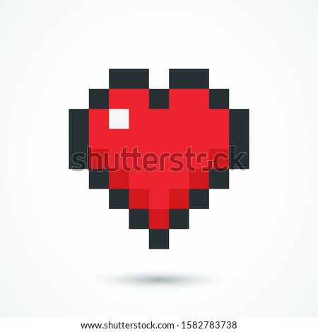 pixel red heart web icon heart