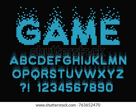 Pixel retro font Video computer game design 8 bit letters and numbers Electronic futuristic style Vector abc