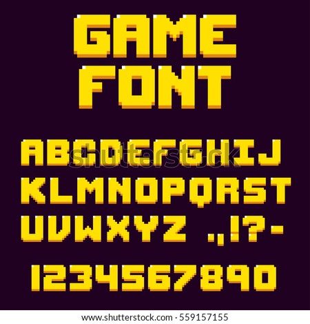Pixel retro video game font. 8 bit letters and numbers typeface.
