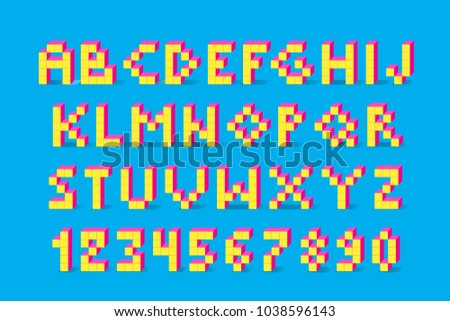 Pixel retro video game font. 80's retro alphabet font. 8 bit letters and numbers typeface.