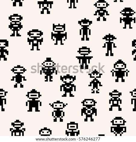 pixel robots pattern  vector