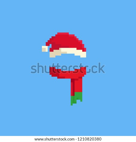 Pixel Santa hat and red scarf.Christmas.8bit.
