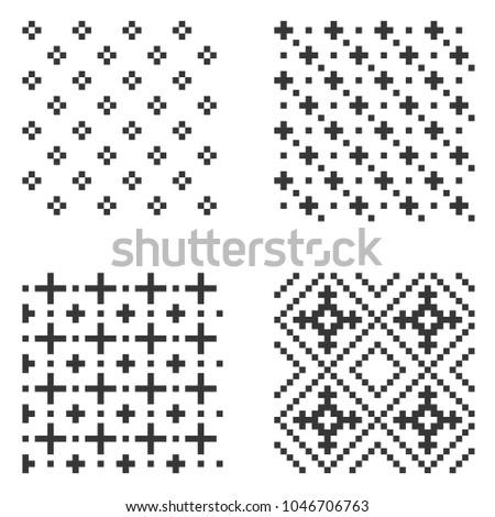 Pixel Seamless Pattern Set. Vector