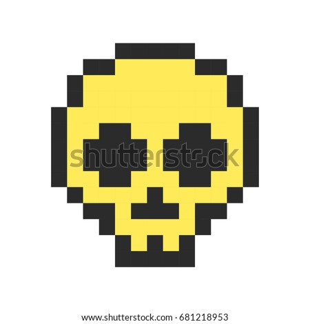 pixel skull pixel art cartoon