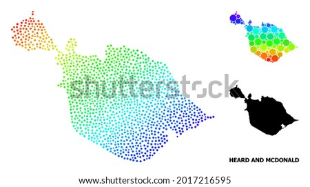 Pixel spectrum, and solid map of Heard and McDonald Islands, and black text. Vector model is created from map of Heard and McDonald Islands with spheres. Collage is useful for geographic templates.