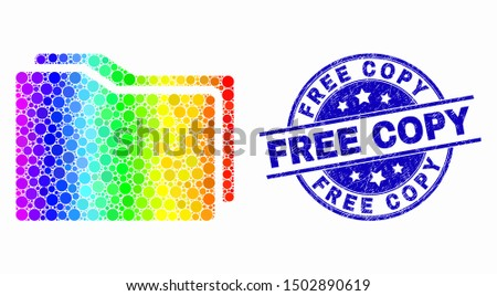 Pixel spectrum folders mosaic icon and Free Copy seal. Blue vector rounded grunge seal stamp with Free Copy message. Vector collage in flat style.