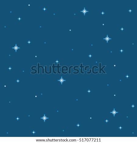 Pixel Star Seamless Background Tile