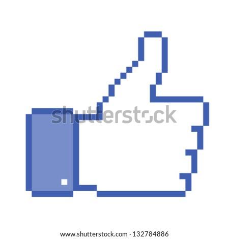 Pixel  thumb up, vector illustration