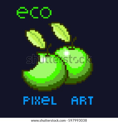 pixel vector green apples eco