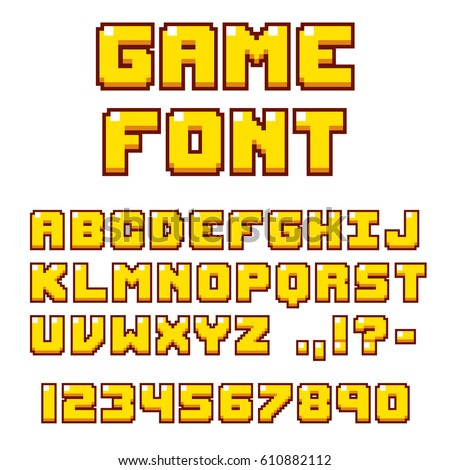 pixel video game font. 8 bit...
