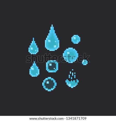 pixel water drop set8bit