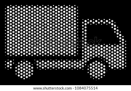 Pixel white delivery lorry icon on a black background. Vector halftone collage of delivery lorry icon done with round dots.