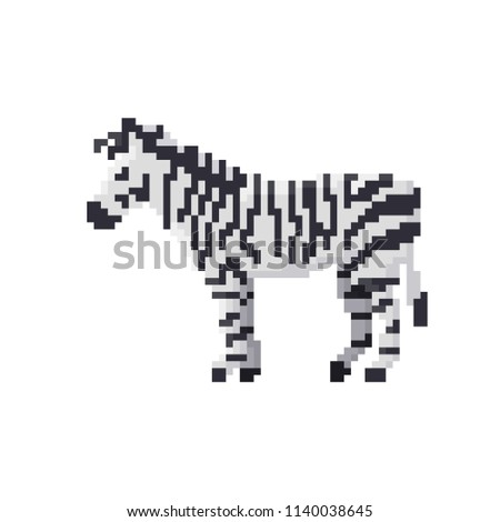 pixel zebra isolated on white