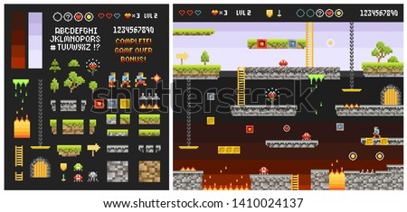 Pixelate Adventure 8 Bit game scene or level and quest creator of ground, texture, grass, trees, sky, character, levels. Set of Indie game Arcade elements for retro video game design