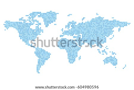 Digital technology earth world map on blue background with dots pixelated blue world map on white background stylized dotted continents silhouettes simple flat vector gumiabroncs