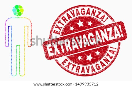 Pixelated bright spectral man mosaic icon and Extravaganza! seal stamp. Red vector rounded distress seal stamp with Extravaganza! caption. Vector composition in flat style. Stockfoto ©