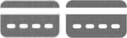 Pixelated halftone credit card icon. Vector halftone composition of credit card icon created of circle items.