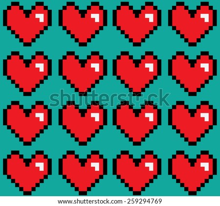 pixelated hearts digital