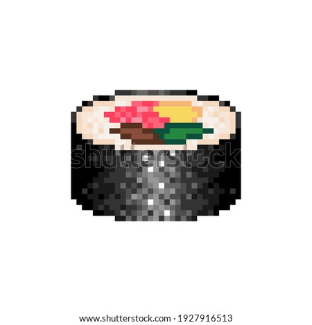 Pixelated maki sushi roll icon. Pixel art maki roll with avocado and salmon. 8bit sushi roll with fish. Vector.