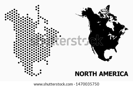 Pixelated map of North America composition and solid illustration. Vector map of North America composition of spheric elements with hexagonal geometric order on a white background.