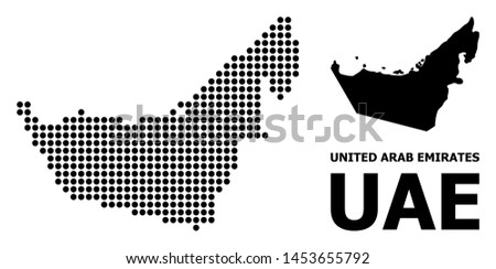 Pixelated map of United Arab Emirates composition and solid illustration. Vector map of United Arab Emirates composition of sphere dots on a white background.